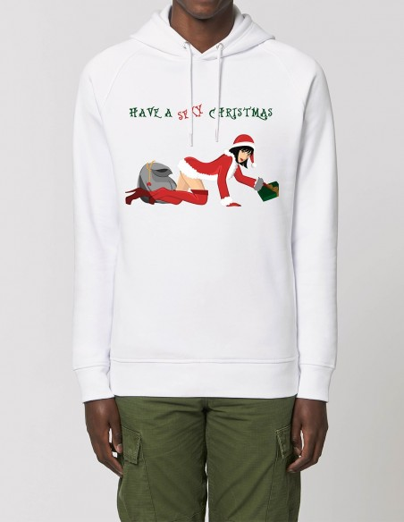 Have a sexy Christmas - Hanorac alb barbati bumbac organic frontal