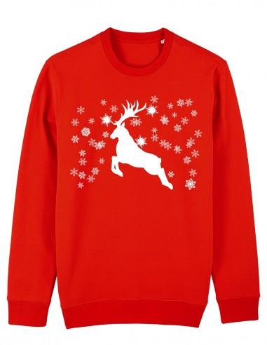 Reindeer - Bluza rosie unisex din bumbac organic frontal