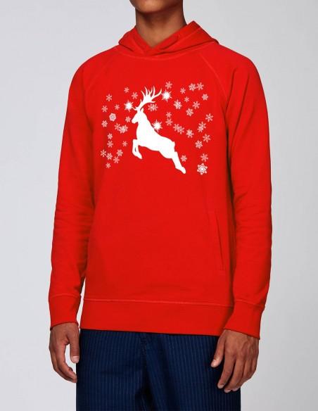 Reindeer - Hanorac rosu barbati bumbac organic frontal