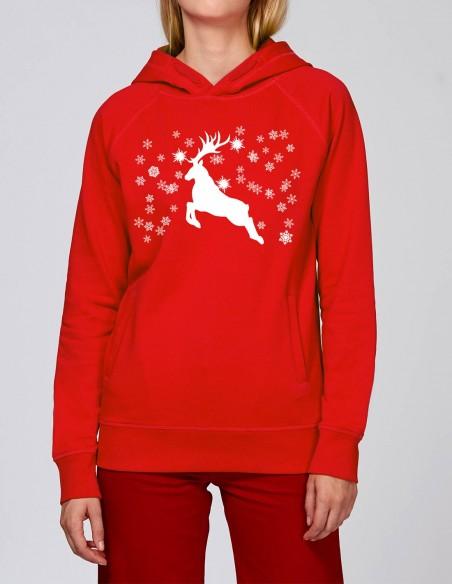 Reindeer - Hanorac rosu dama bumbac organic frontal
