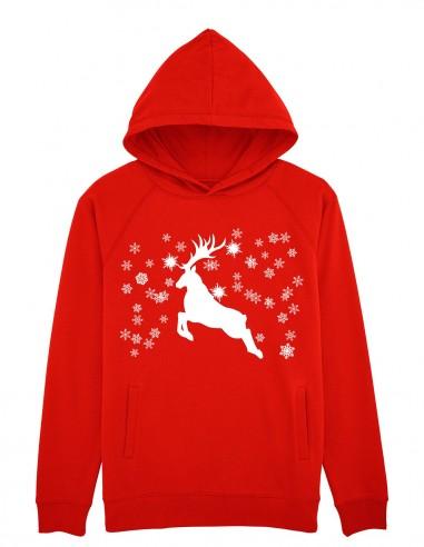 Reindeer - Hanorac rosu unisex din bumbac organic frontal