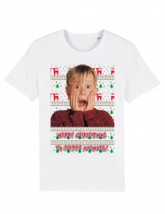 Home Alone - Tricou alb unisex din bumbac organic frontal