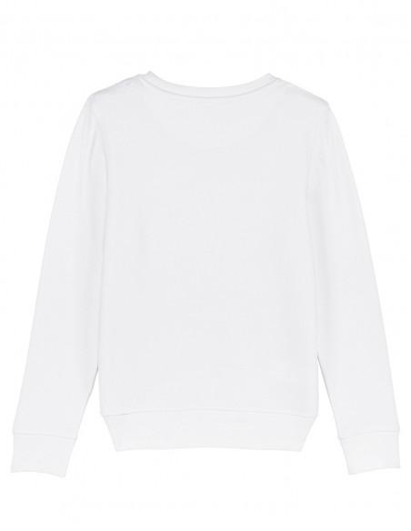 Home Alone - Bluza alba din bumbac organic pentru copii posterior