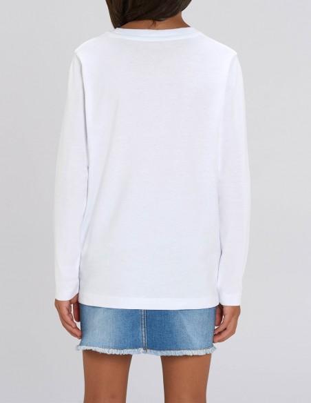 Little Deer - Bluza alba din bumbac organic pentru fete posterior