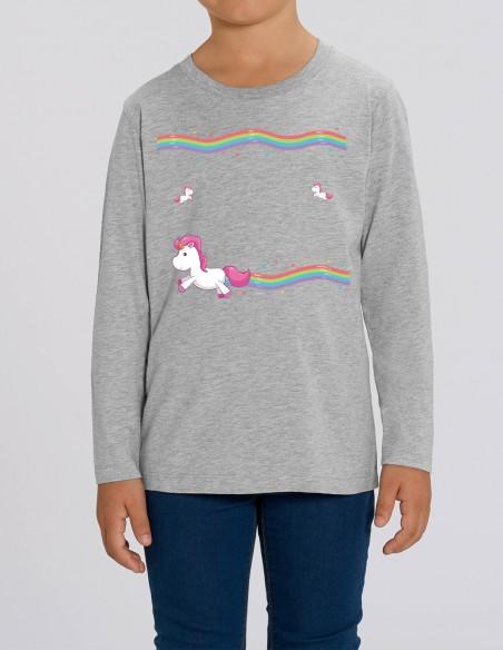 Little Unicorns - Bluza gri melanj din bumbac organic pentru fete frontal