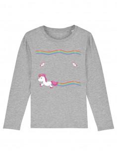 Little Unicorns - Bluza gri melanj din bumbac organic pentru copii fontal