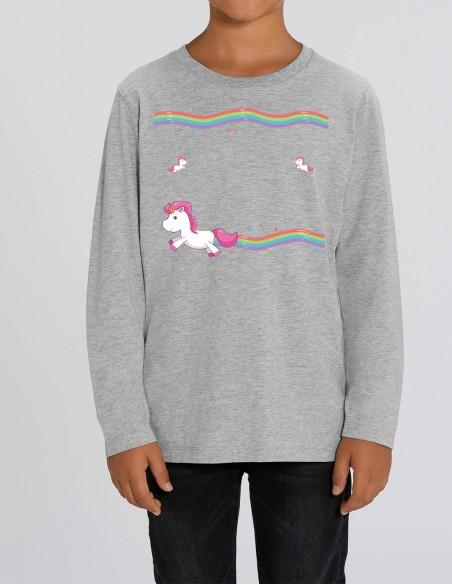 Little Unicorns - Bluza gri melanj din bumbac organic pentru baieti frontal