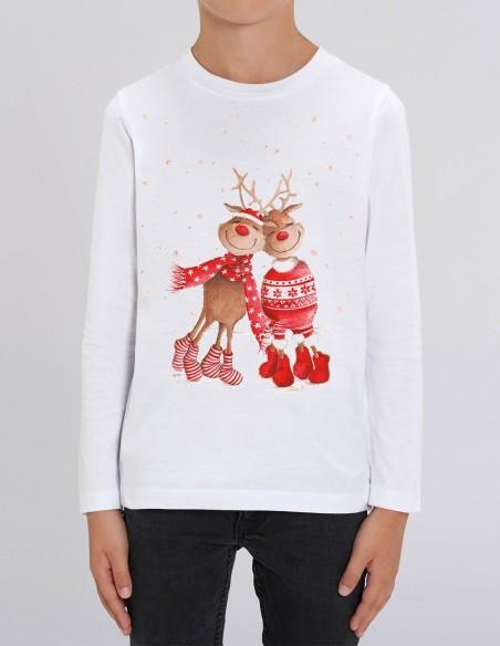 Love Reindeers - Bluza alba din bumbac organic pentru baieti frontal
