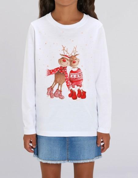 Love Reindeers - Bluza alba din bumbac organic pentru fete frontal