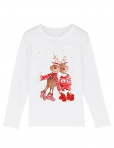 Love Reindeers - Bluza alba din bumbac organic pentru copii frontal