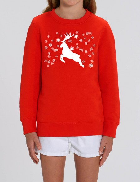 Reindeer - Bluza rosie din bumbac organic pentru fete frontal