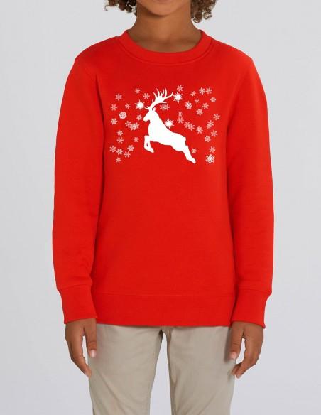 Reindeer - Bluza rosie din bumbac organic pentru baieti frontal