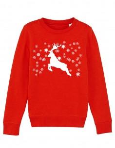 Reindeer - Bluza rosie din bumbac organic pentru copii frontal