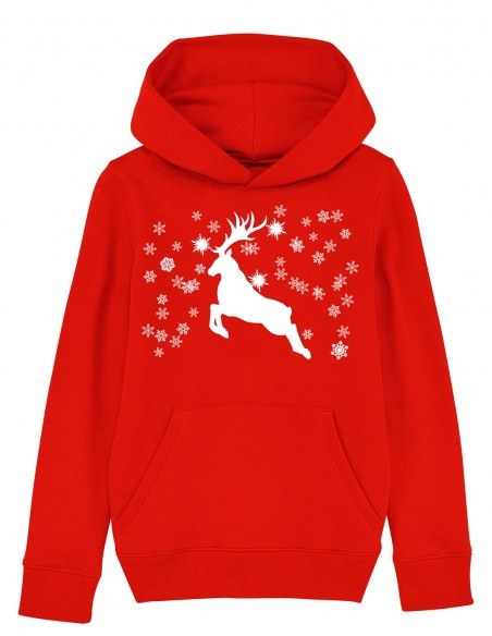 Reindeer - Hanorac rosu din bumbac organic pentru copii frontal