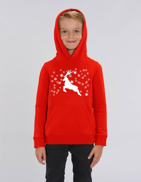 Reindeer - Hanorac rosu din bumbac organic pentru baieti frontal