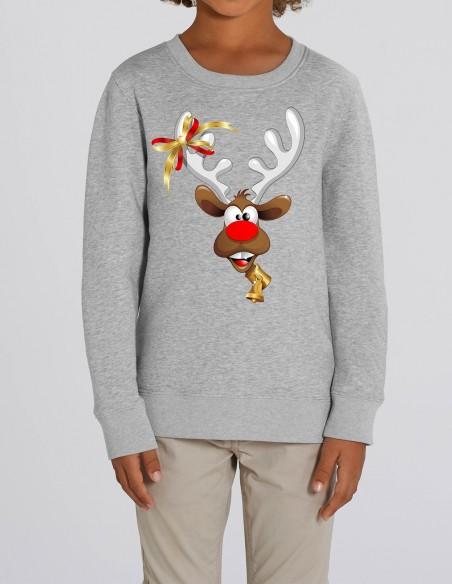 Red Velvet Nose Rudolph - Bluza gri din bumbac organic pentru baieti frontal