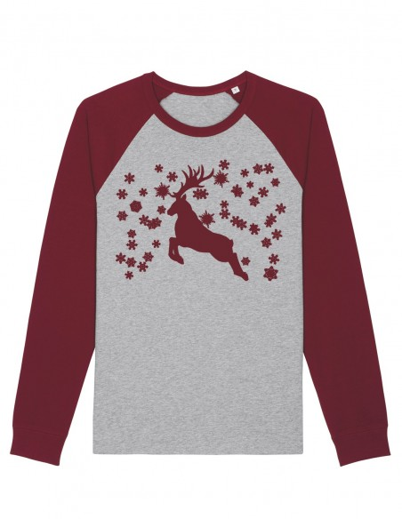 Reindeer - Bluza gri melanj burgundy unisex din bumbac organic frontal