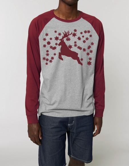 Reindeer - Bluza gri melanj burgundy barbati bumbac organic frontal