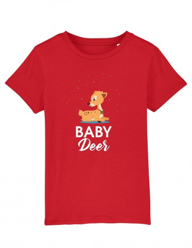 Baby Deer - Tricou rosu pentru copii bumbac organic