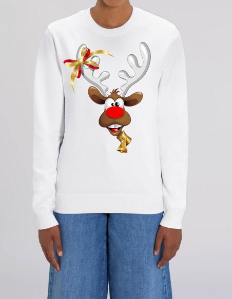 Red Velvet Nose Rudolph - Bluza alba dama din bumbac organic frontal
