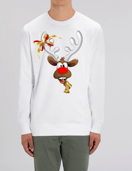 Red Velvet Nose Rudolph - Bluza alba barbati bumbac organic frontal