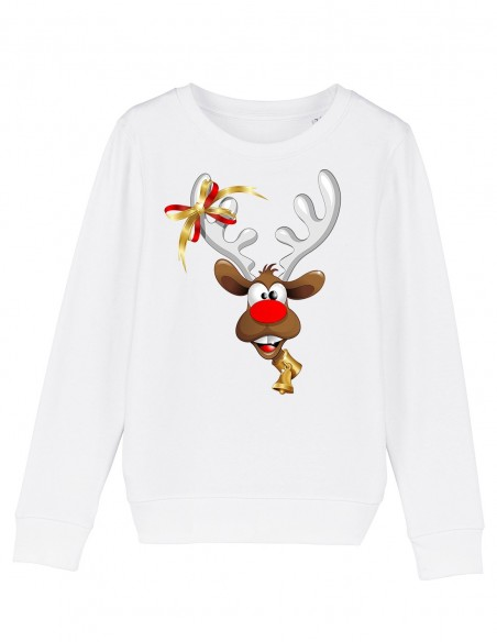 Red Velvet Nose Rudolph - Bluza alba din bumbac organic pentru copii frontal