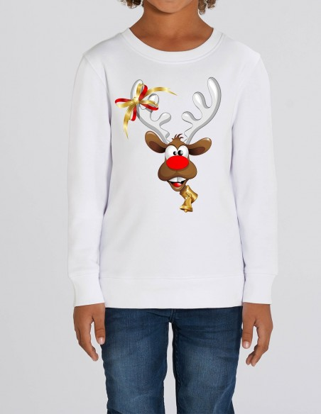 Red Velvet Nose Rudolph - Bluza alba din bumbac organic pentru baieti frontal