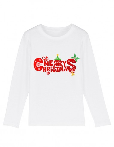 Merry Christmas - Bluza din bumbac organic pentru copii frontal