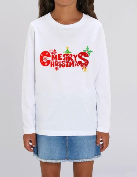 Merry Christmas - Bluza din bumbac organic pentru fete frontal
