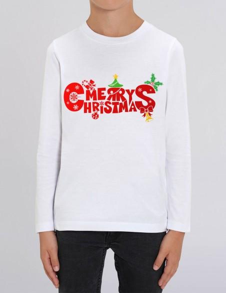 Merry Christmas - Bluza din bumbac organic pentru baieti frontal