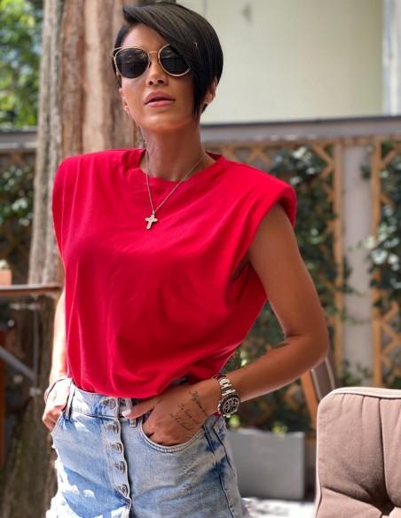 Tricou rosu Lara din bumbac, cu umeri. Adelina Pestritu