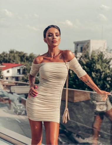 Rochie Rochie mulata de tip bodycon Sharon - Sampanie - Adelina Pestritu