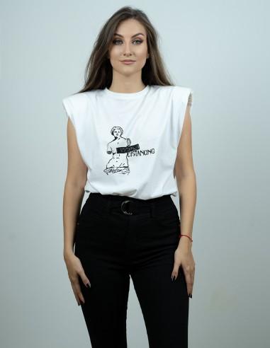 Tricou din bumbac imprimat prin linogravura Social Distancing